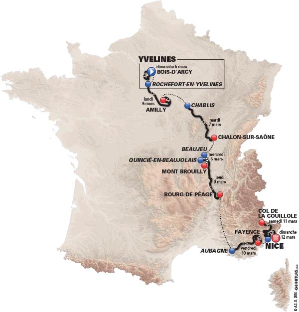 Carte du Paris Nice 2017