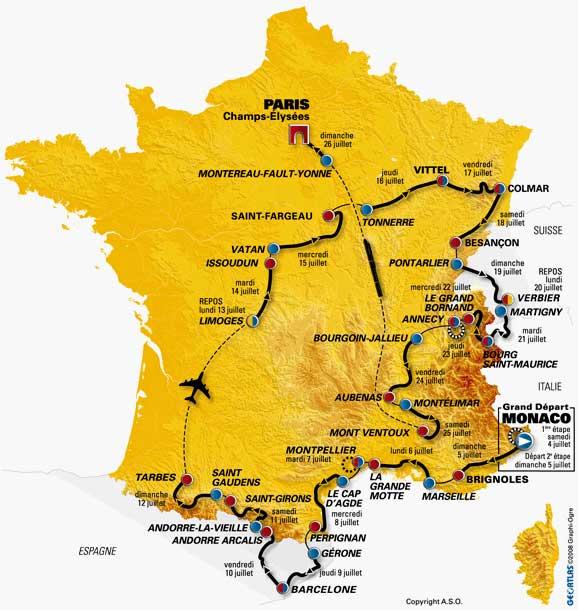 Parcourt du Tour de France 2009
